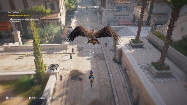 Ihr könnt euren Weg auch ausschließlich in der Urversion des Adlerauges festlegen, in dem ihr die Markierung immer wieder neu setzt.