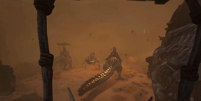 Ein Sandsturm kann euren Tod bedeuten, ihr seht kaum noch die Hand vor euren Augen.