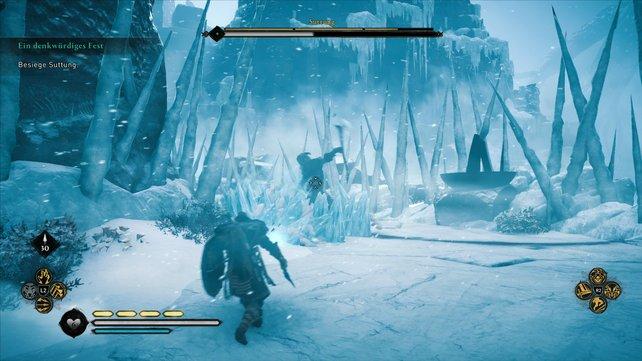 In Phase 2 wird Suttung deutlich aggressiver. Passt stets auf die Eiswellen auf, die er auf euch schießt.