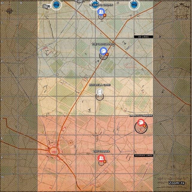 Die Karten sind in Kachelfelder unterteilt, die taktische Manöver erleichtern sollen. Außerdem seht ihr auf einen Blick, in welchem Sektor strategische Ressourcen erobert werden können.