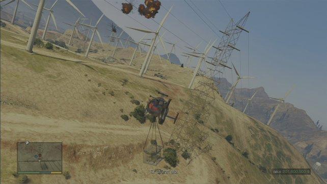 Vorsicht, wenn ihr durch den Windpark fliegt. Erfassen euch die rotierenden Blätter, war es das.