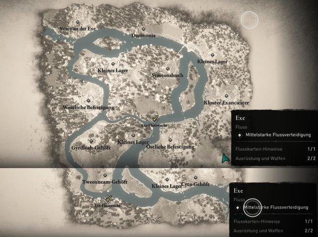 Komplett aufgedeckte Karte der Flussraub-Region Exe mit allen sichtbaren Orten.