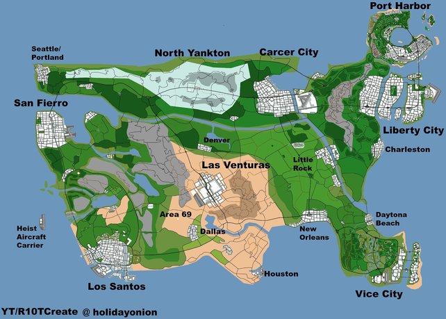 2015 schuf der YouTuber holidayonion den Map-Traum vieler GTA-Spieler: Die Fusion aller bisherigen Maps.