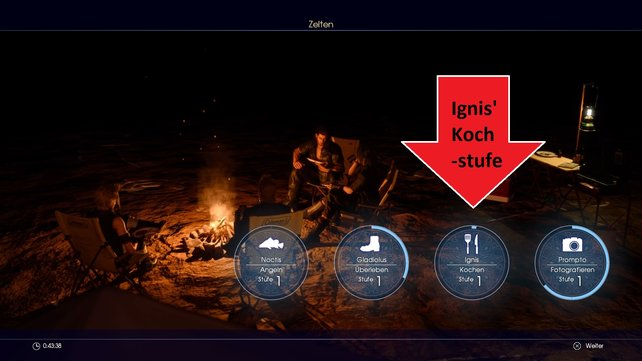 Beim Zelten in Final Fantasy 15 wird euch die aktuelle Kochstufe von Ignis angezeigt.
