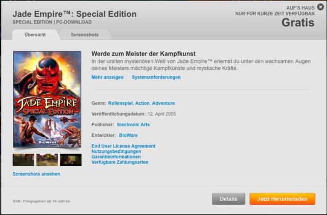 Gerade gratis bei Origin: Jade Empire.