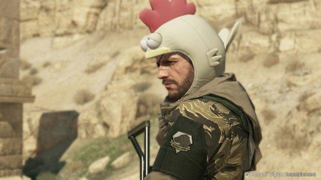 Diese alberne Kopfbedeckung erhält Snake, wenn er sich in Missionen wiederholt dumm anstellt.