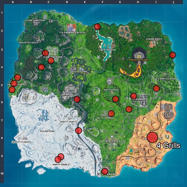 Auf der Karte haben wir die Fundorte der meisten Grills für euch markiert.