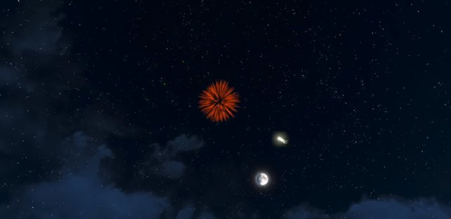 Feurwerks-Munition am Nachthimmel!