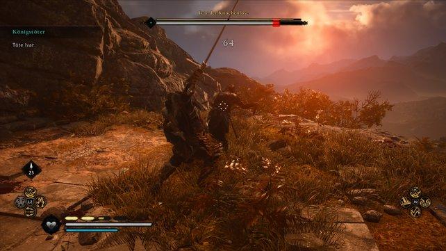 Ivar ist extrem flink und weicht euren normalen Schlägen aus. Deshalb müsst ihr selbst teils auf mehrfache Konter setzen.