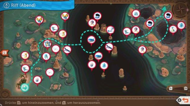 """Karte mit Pokémon-Fundorten auf der Strecke """"Park (Abend)""""."""