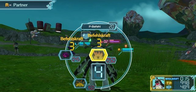 Über den Befehlsring kommuniziert ihr im Kampf mit euren Digimon.