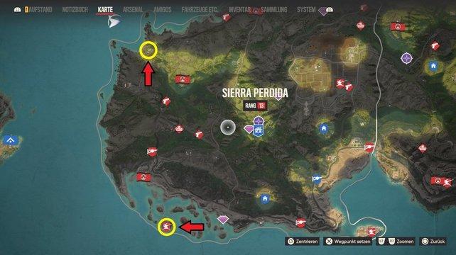 Sucht die gelben Markierungen auf, um das abgereicherte Uran und die Flugabwehranlage auf El Este zu finden.