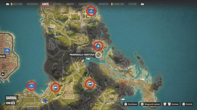 Sucht die roten Markierungen auf, um alle Schnellreisepunkte in Valle de Oro freizuschalten.