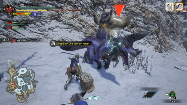 Ein Revierkampf endet meistens damit, das ihr ein Monster reiten dürft. Ihr müsst die Waffe nicht wegstecken. Nach einer Attacke steigt eure Figur automatisch auf das Monster.