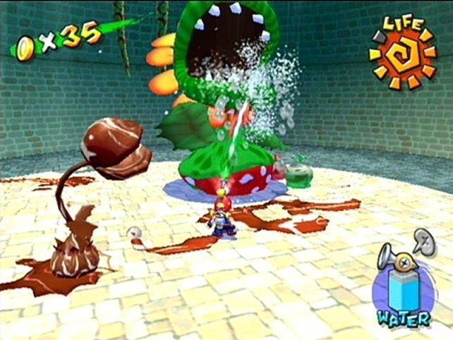 Nicht jedermanns Sache: Die Wasserspritz-Mechanik von Super Mario Sunshine.