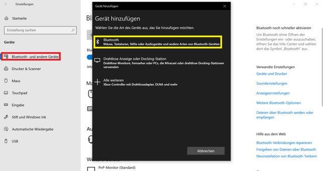 Wollt ihr eueren PS5-Kontroller via Bluetooth mit dem PC verbinden, müsst ihr zunächst eure Bluetooth-Einstellungen öffnen.