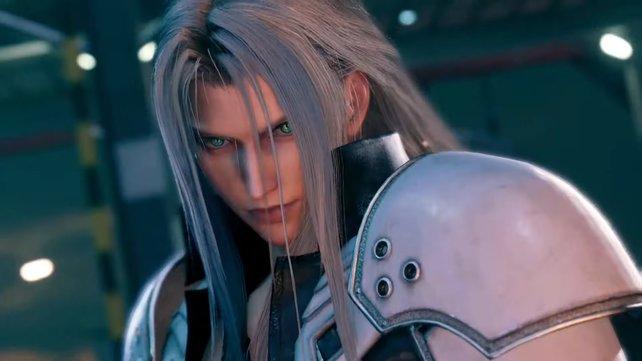 Cloud sieht Sephiroth vor sich auf der Straße, der allein mit seinem Blick einen Güterzug aufhalten könnte.