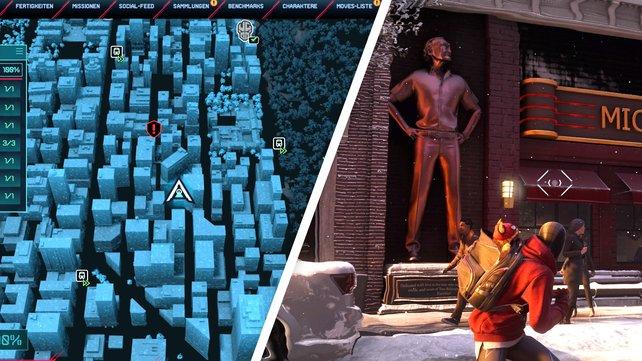 Am gezeigten Fundort in Upper West Side müsst ihr mit der Statue interagieren.