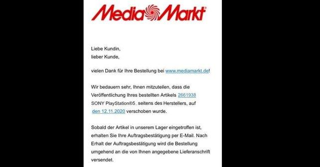 MediaMarkt-Kunden sollen diese Email kürzlich erhalten haben, die sie darüber informiert, dass die PS5 sieben Tage früher kommt. Bildquelle: Playfront.