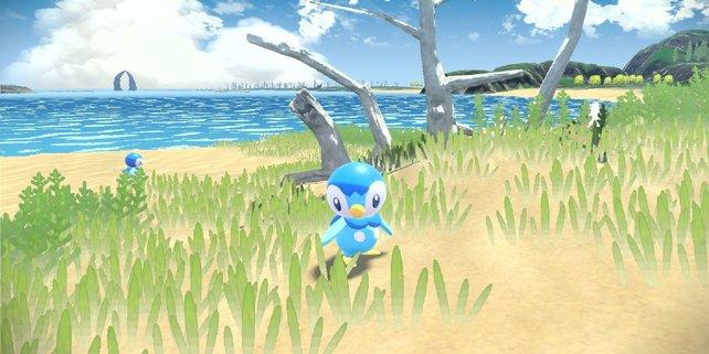 Passend zum Vergangenheits-Setting von Pokémon-Legenden: Arceus sieht das Gras so aus, als wäre es mit Wasserfarbe auf Papier gemalt worden.