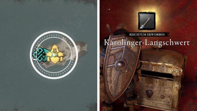 An diesem Symbol erkennt ihr, ob sich eine Waffe bzw. Rüstungsteil hinter dem Reichtum verbirgt.