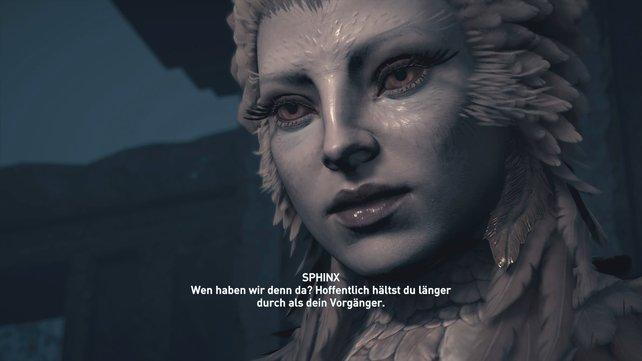 Das ist die mächtige Sphinx, die euer Wissen bei Assassin's Creed - Odyssey auf die Prüfung stellt.