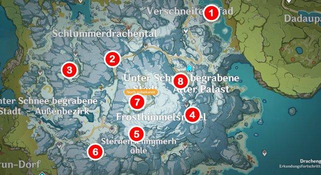 Die Karte zeigt euch alle Fundorte der Steintafeln.