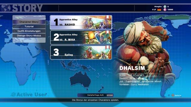 In Dhalsims Geschichte müsst ihr lediglich zwei Kämpfe bestreiten.