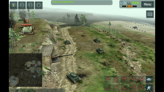 Baut Truppen, gruppiert sie und greift die Feindbasis an. Auch auf dem Touchscreen relativ gut spielbar.