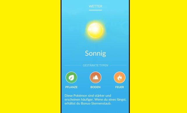 Bei sonnigem Wetter würden Pflanzen-, Boden- und Feuer-Pokémon von den oben genannten Vorteilen profitieren.