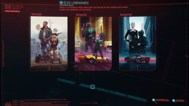 In Cyberpunk 2077 könnt ihr zwischen drei Lebenswegen auswählen, welche V's Persönlichkeit beeinflussen.