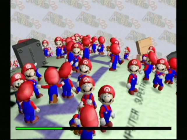 In einer Technikdemonstration lassen die Entwickler 128 Marios durch die Landschaft wetzen und schüren damit die vergebliche Hoffnung auf einen direkten Nachfolger für Super Mario 64. Mehrere grafische Muskelspiele dieses Videos fließen dafür aber in spätere Gamecube-Spiele wie zum Beispiel Pikmin ein.