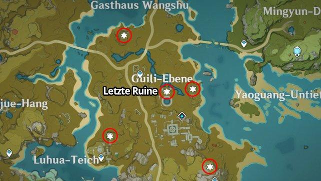Die Karte zeigt euch die Fundorte der vier seltsamen Scheiben sowie den Standort der letzten Ruine.
