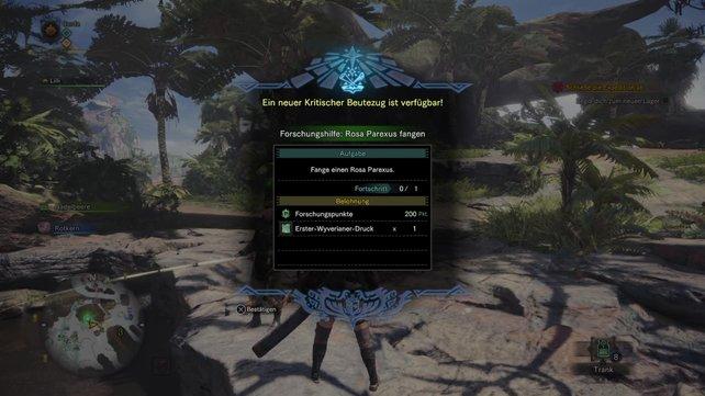 Hier seht ihr den Fischforscher von Monster Hunter World. Er wird euch mit Quests versorgen, die euch Wyverianer-Drucke einbringen.
