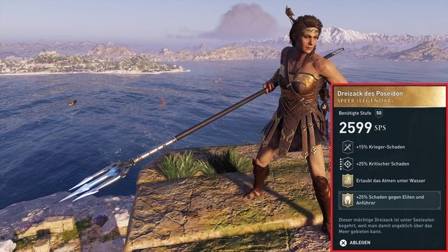 Der Dreizack des Poseidon ist eine der Waffen, die ihr nur aus einer legendären Truhe bekommt!