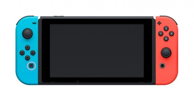 Auf dem blauen Controller hier seht ihr rosa markiert die Screenshot-Taste auf der Nintendo Switch.
