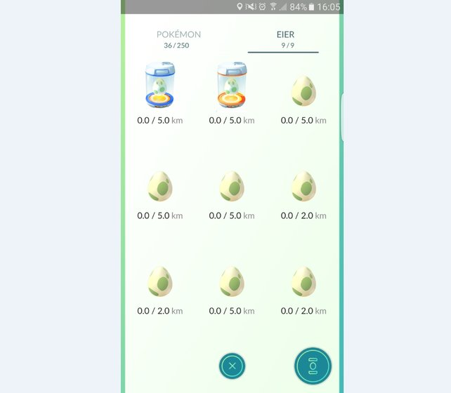 Eier ausbrüten: Im Menü bekommt ihr alle Eier angezeigt, die ihr an PokéStops eingesammelt habt.
