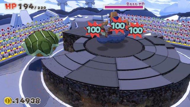 Der Erd-Pergamenton erledigt mit einem Angriff alle Sumo-Brüder auf dem Boden.