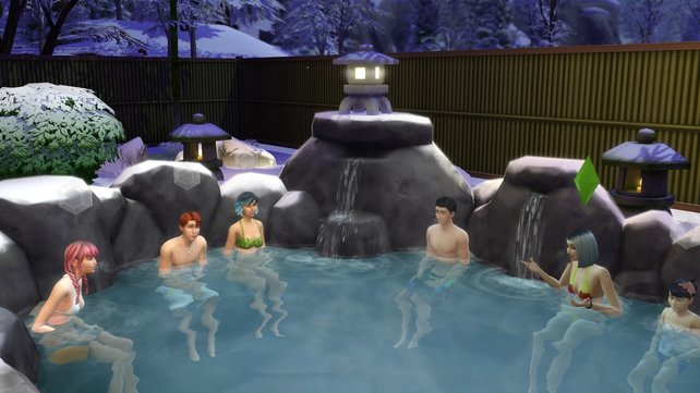In der heißen Quelle in Mt. Komorebi könnt ihr nach einem langen Tag wunderbar gemeinsam mit euren Freunden entspannen.