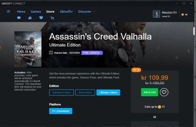 Assassin's Creed Valhalla: Im norwegischen Ubisoft-Store kostete es für kurze Zeit umgerechnet 10,25 Euro. Quelle: imgur.