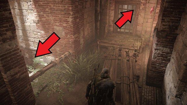 Klettert ihr links den Schacht hinab und weiter hinten wieder hoch, seid hinter der Tür.