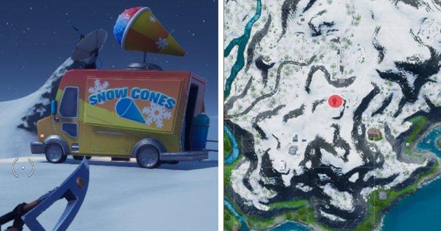 """Der Rote Punkt zeigt verweist auf den Standort des """"Snow Cones""""-Imbisswagens."""