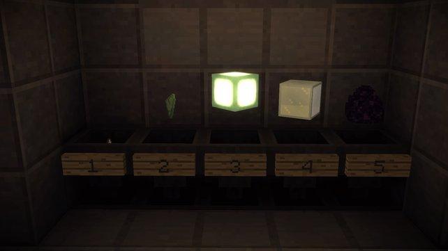 Die richtigen Reihenfolge: Ghast Tears, Prismarine, Sea Lantern, Packed Ice und Dragon Egg.