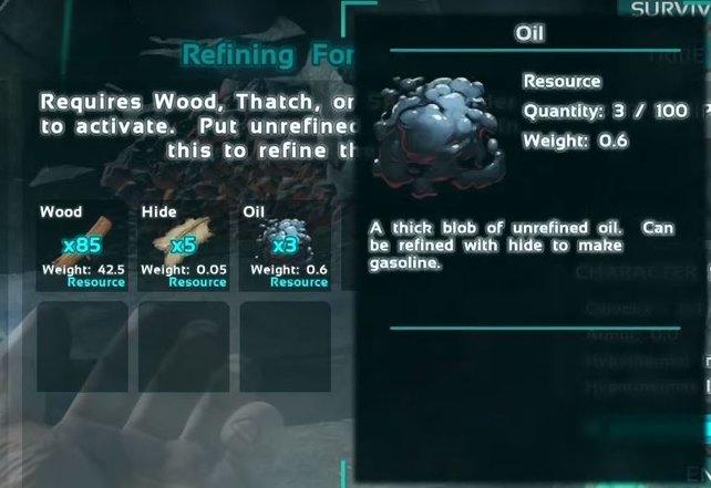 Benzin könnt ihr dann aus Öl und Leder in einem Schmelzofen herstellen.