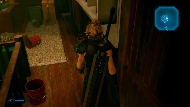 Wenn ihr das Haus verlasst, dürft ihr keinen Lärm machen, damit Aerith von eurer Flucht nichts mitbekommt.