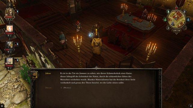 Die Dialoge spulen sich in Textfenstern ab.