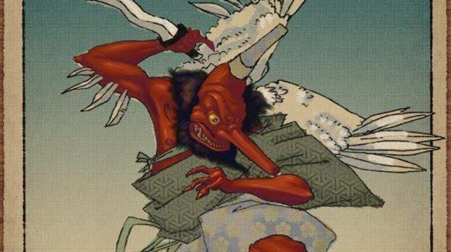 Das ursprünglich chinesische Fabeltier Tengu hat sich im Laufe der Jahrhunderte stark verändert. Das Wort bedeutet Himmelshund.