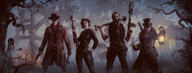 Die Jäger posieren.