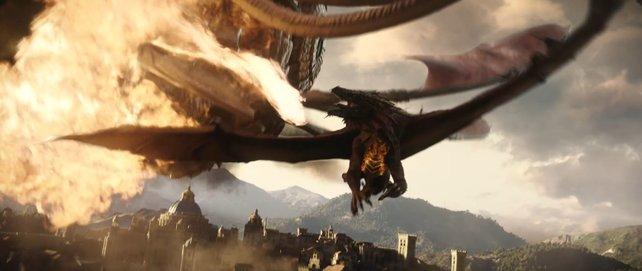 Der Cinematic-Trailer macht in 4K ordentlich was her und beinhaltet jede Menge Drachen-Action.