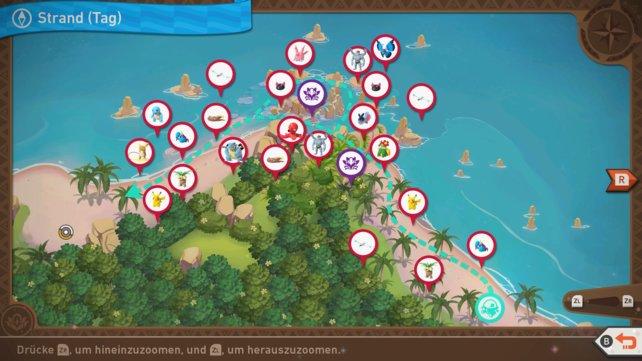 """Karte mit Pokémon-Fundorten auf der Strecke """"Strand (Tag)""""."""